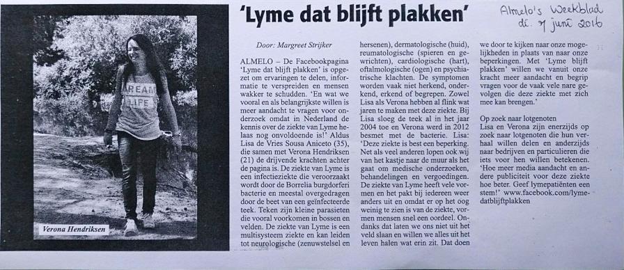 Het artikel in het Almelo's Weekblad van dinsdag 7 juni 2016